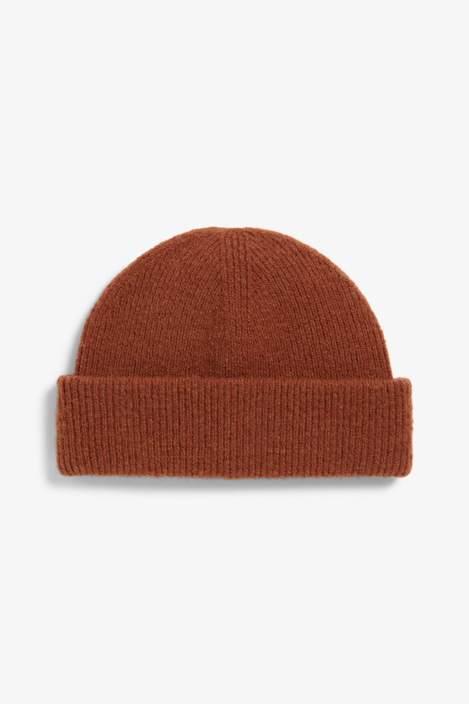 Front image of Monki soft ribbed beanie in orange
