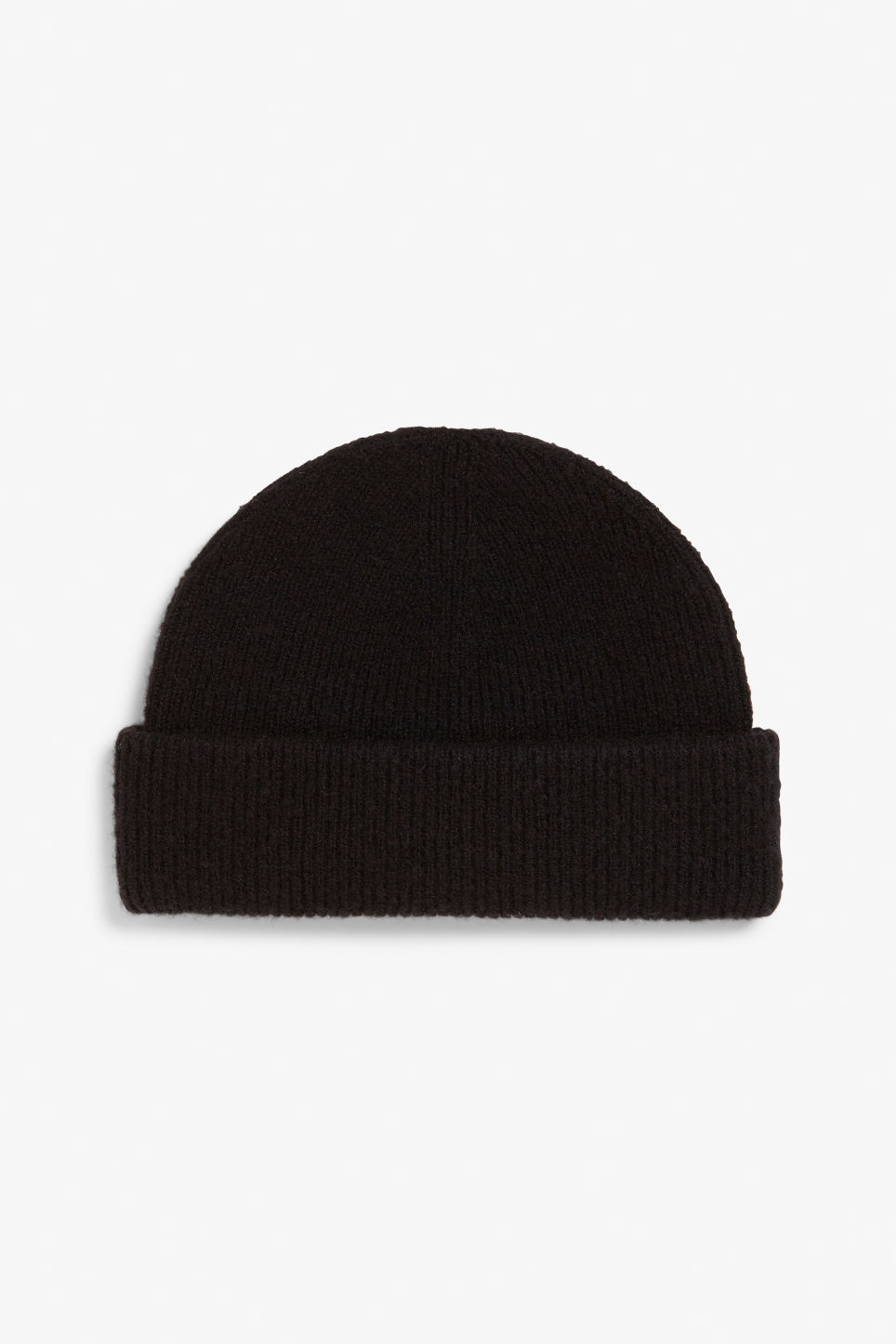 Front image of Monki soft ribbed beanie in black