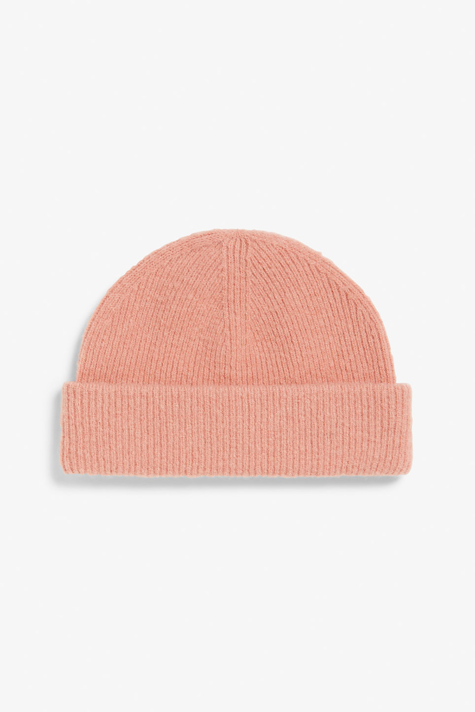 Front image of Monki soft ribbed beanie in pink