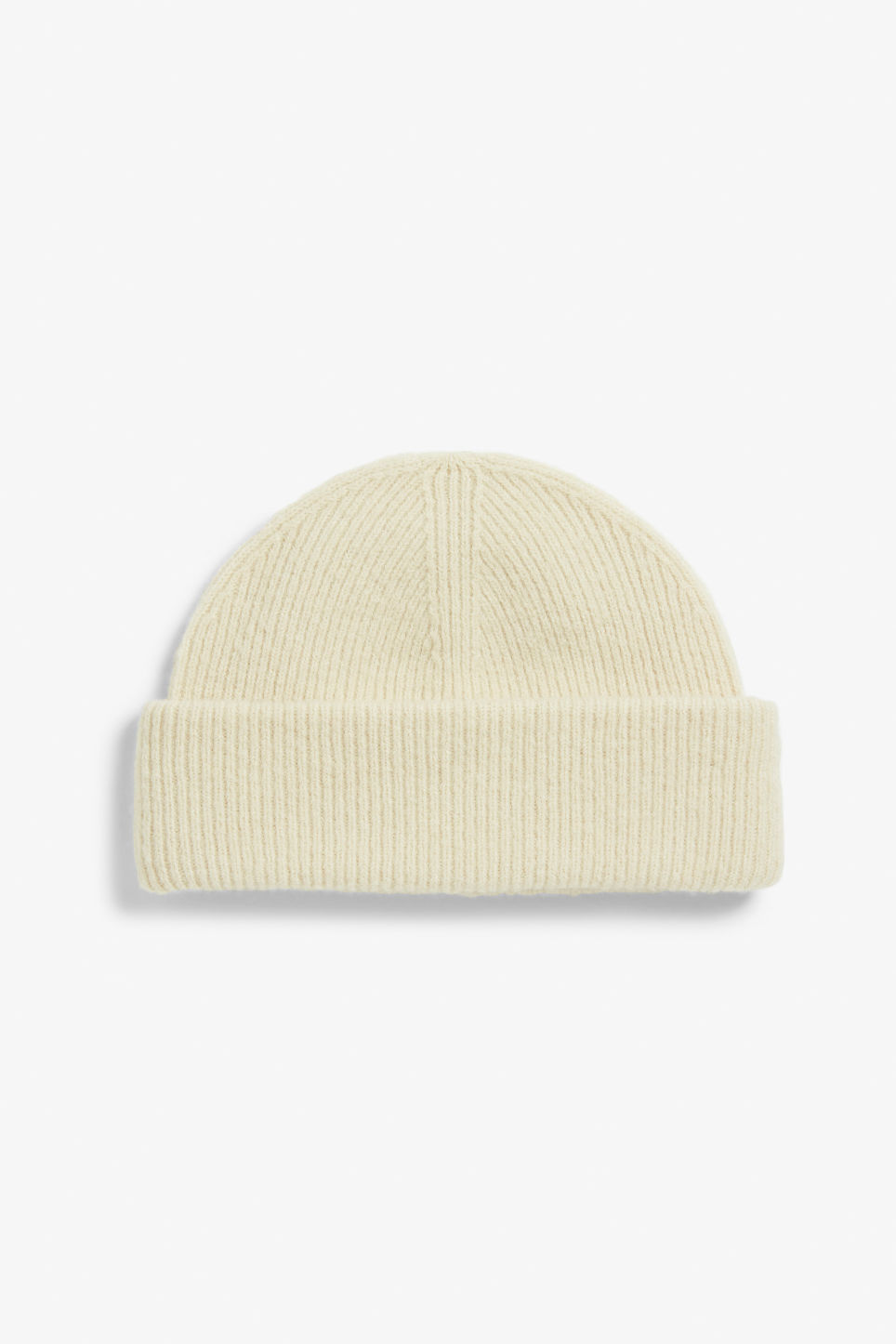 Front image of Monki soft ribbed beanie in beige