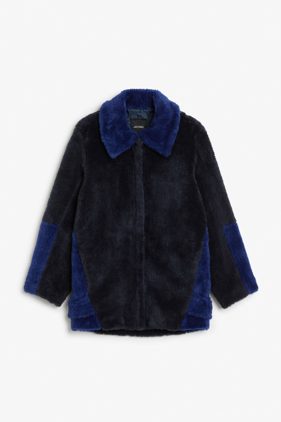 Front image of Monki faux fur jacket in blue