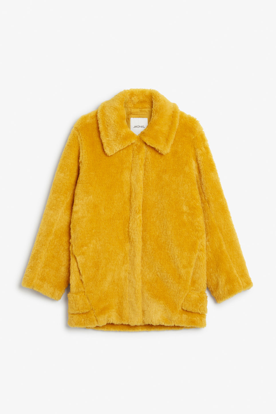 Front image of Monki faux fur jacket in yellow