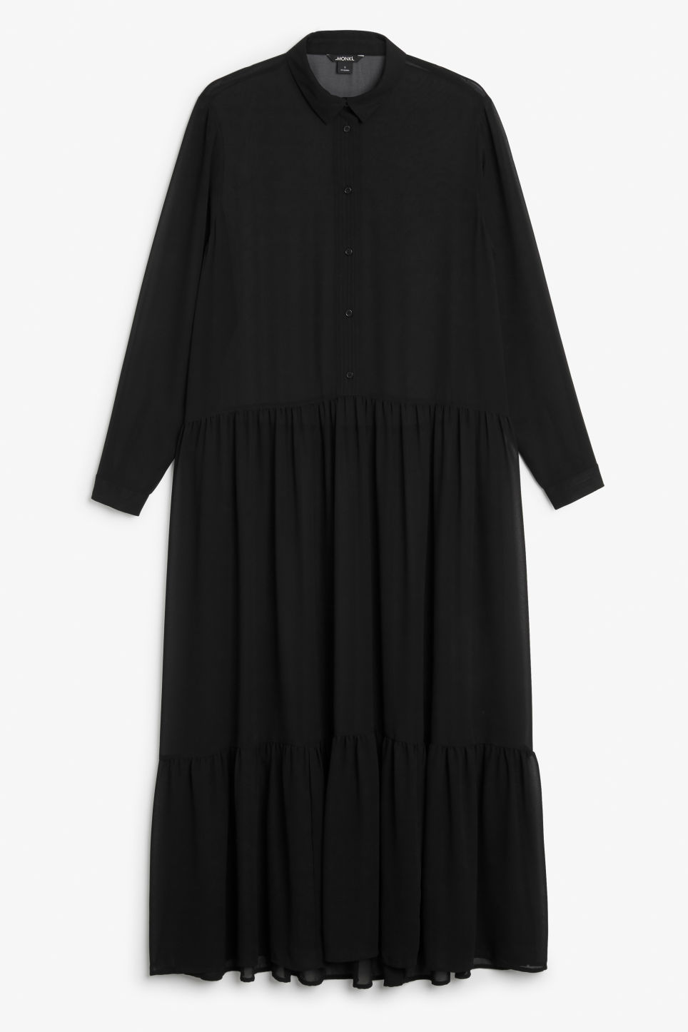 Front image of Monki long dress with ruffle hem in black