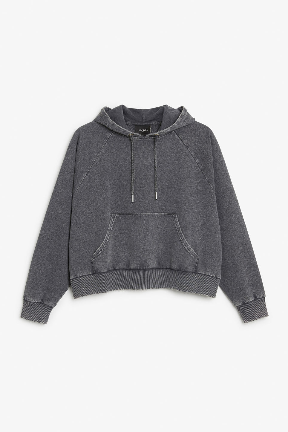 Front image of Monki cropped hoodie in black