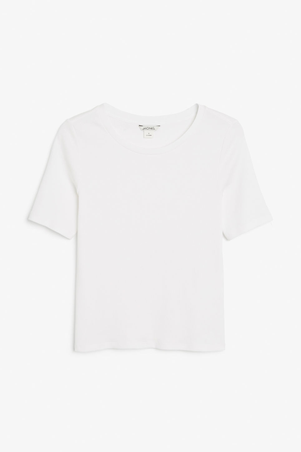 Front image of Monki ribbed cotton tee in white
