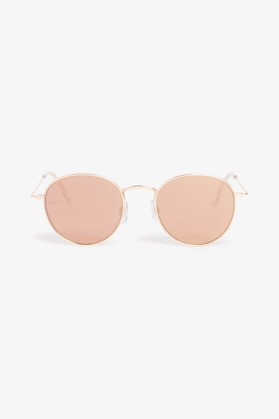 Front image of Monki classic wire sunglasses in gold
