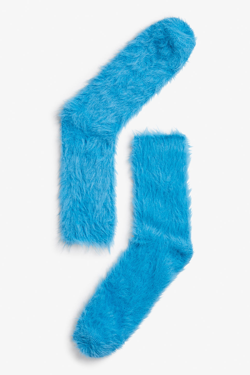 Front image of Monki fluffy socks in blue