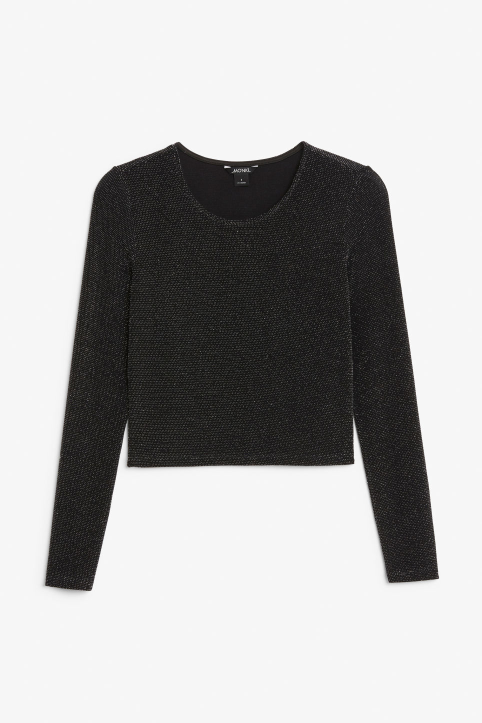 Front image of Monki long-sleeved glitter top in black
