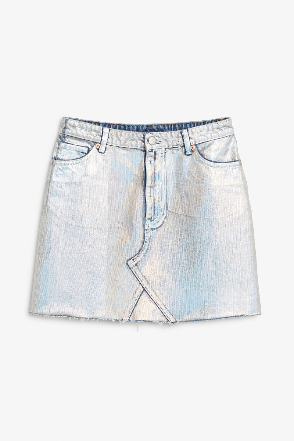 Front image of Monki metallic denim skirt in silver