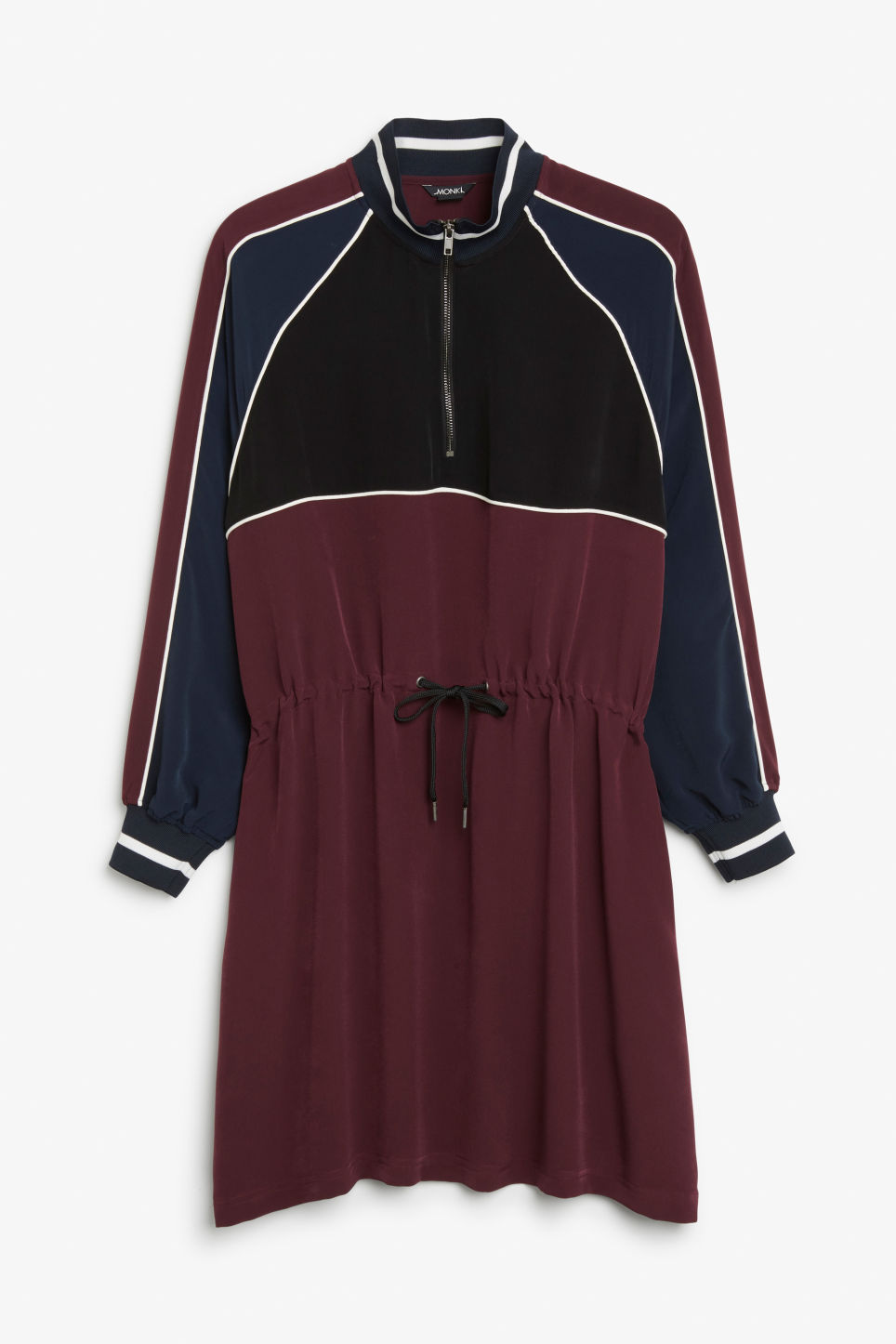 Front image of Monki sporty zip dress in pink
