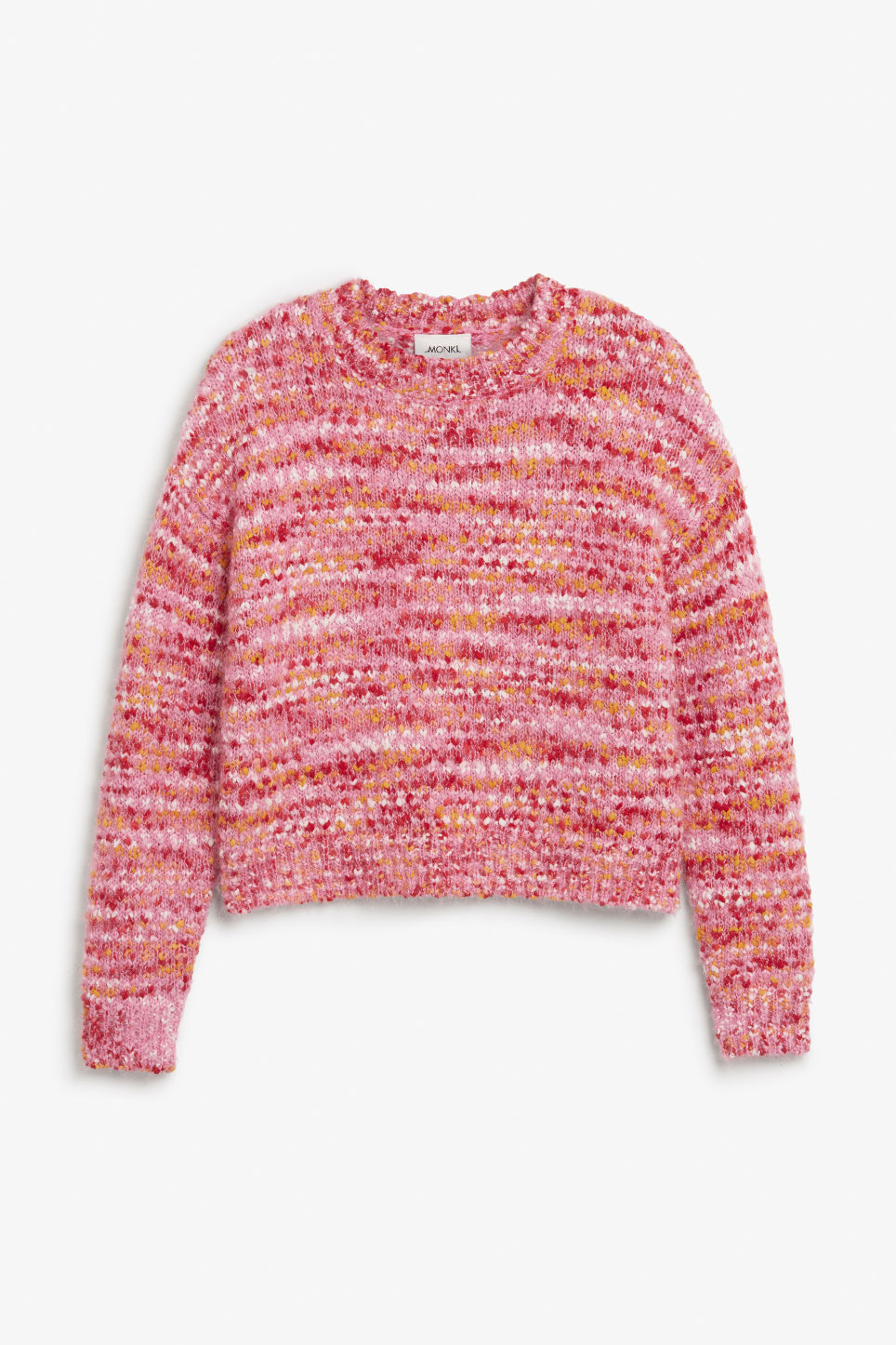 Front image of Monki fluffy sweater in pink