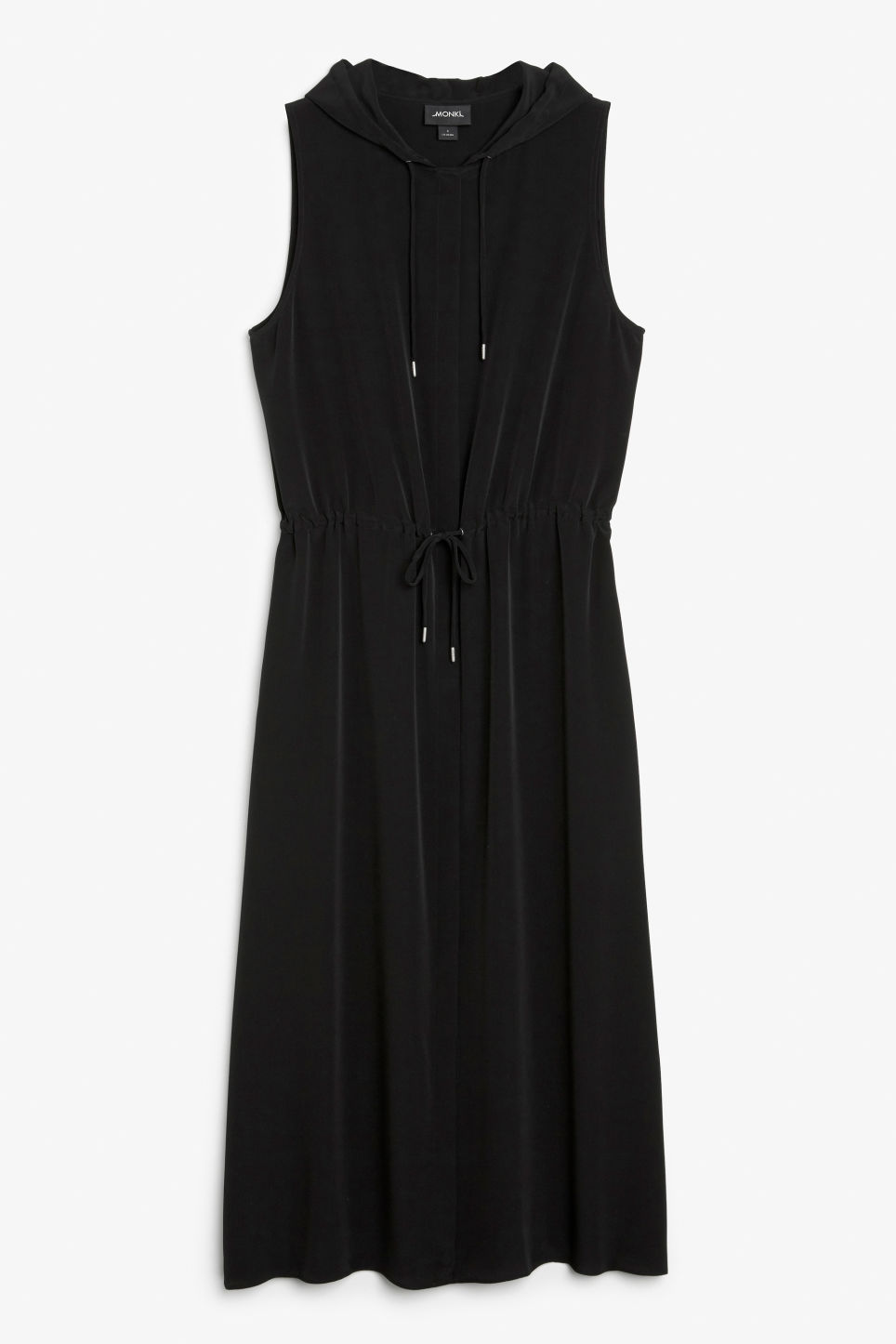 Front image of Monki long hooded dress in black
