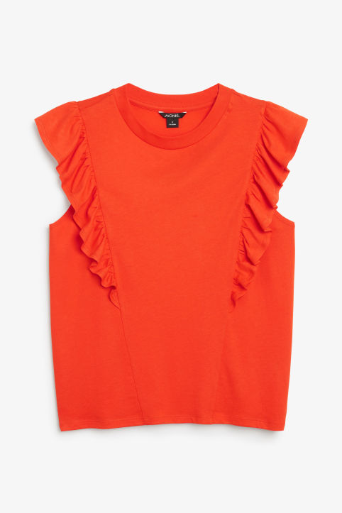 Front image of Monki asymmetrical ruffle tee in orange