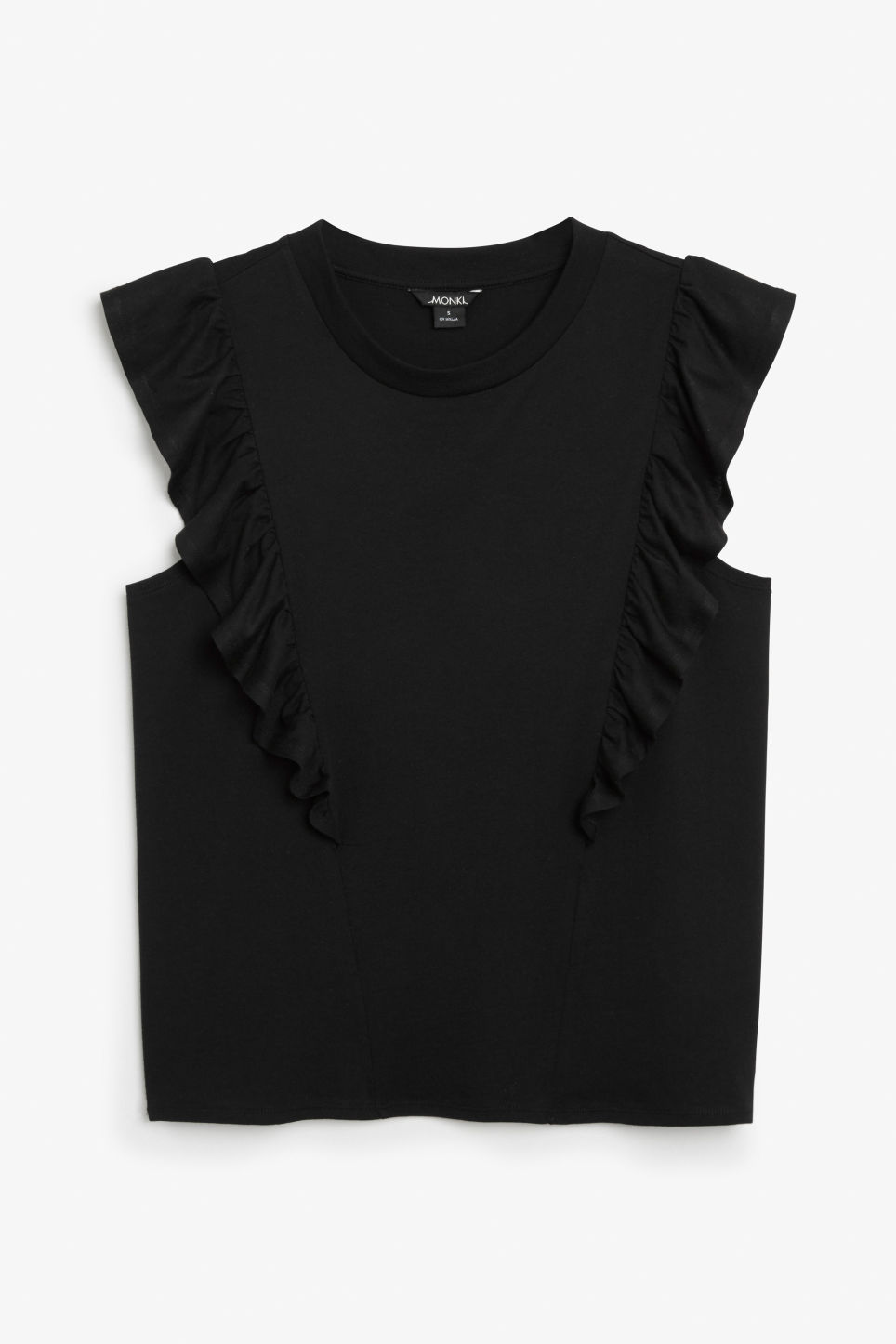 Front image of Monki asymmetrical ruffle tee in black