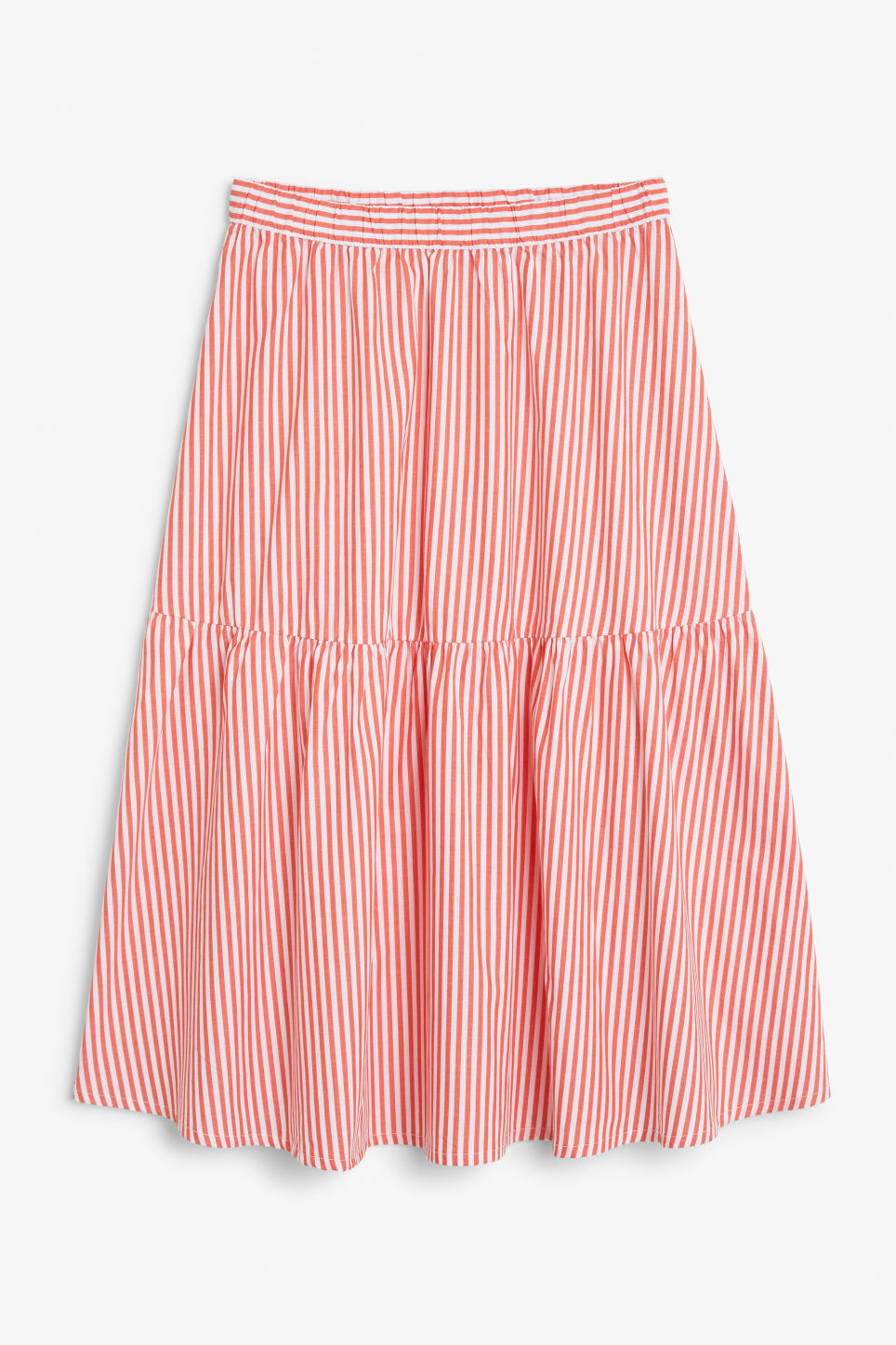 Front image of Monki wide ruffled skirt in orange