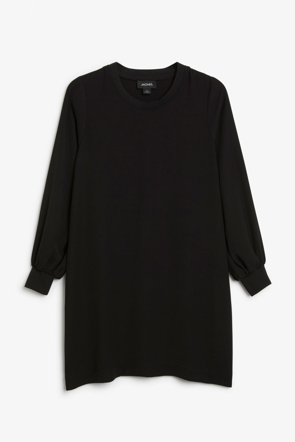 Front image of Monki puff-sleeved dress in black