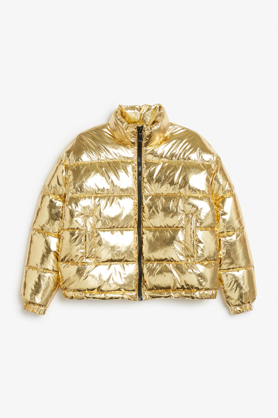 Front image of Monki gold puffer jacket in yellow