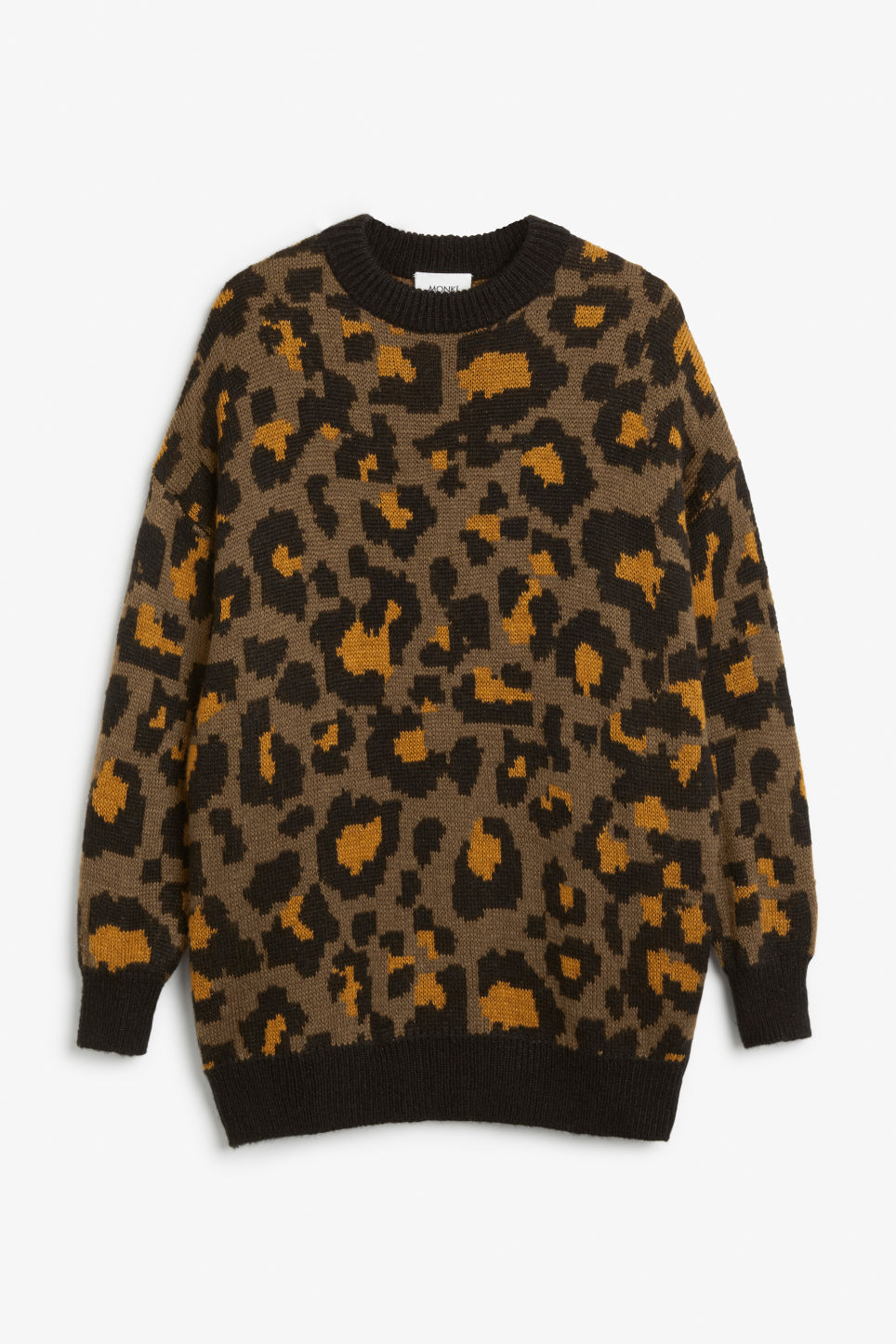 Front image of Monki leopard knit sweater in beige