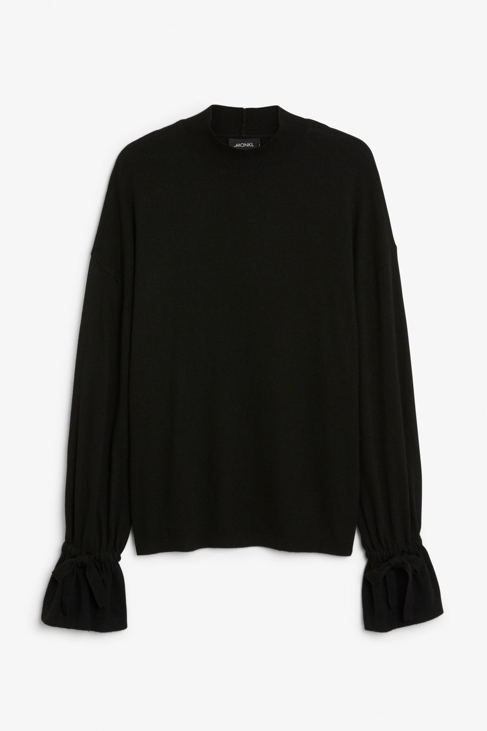 Front image of Monki sweater with ruffled wrists in black