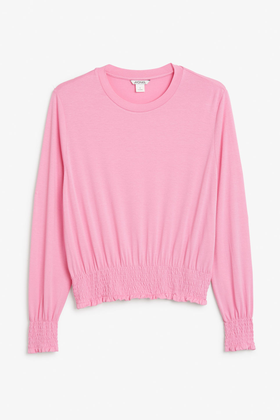 Front image of Monki gathered hem top in pink