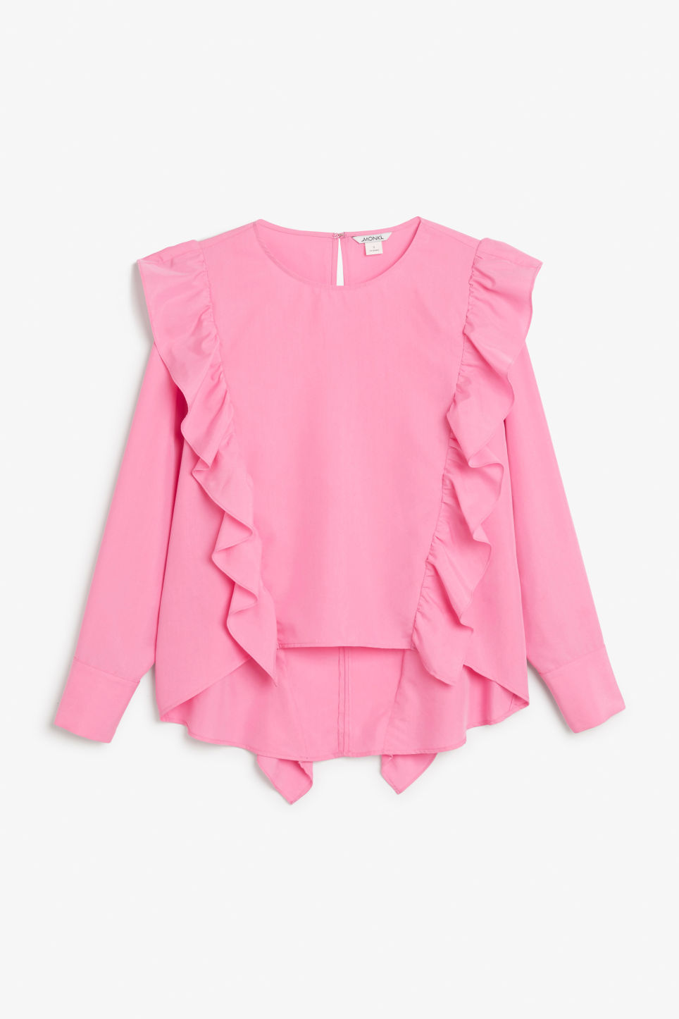 Front image of Monki ruffled mullet hem blouse in pink