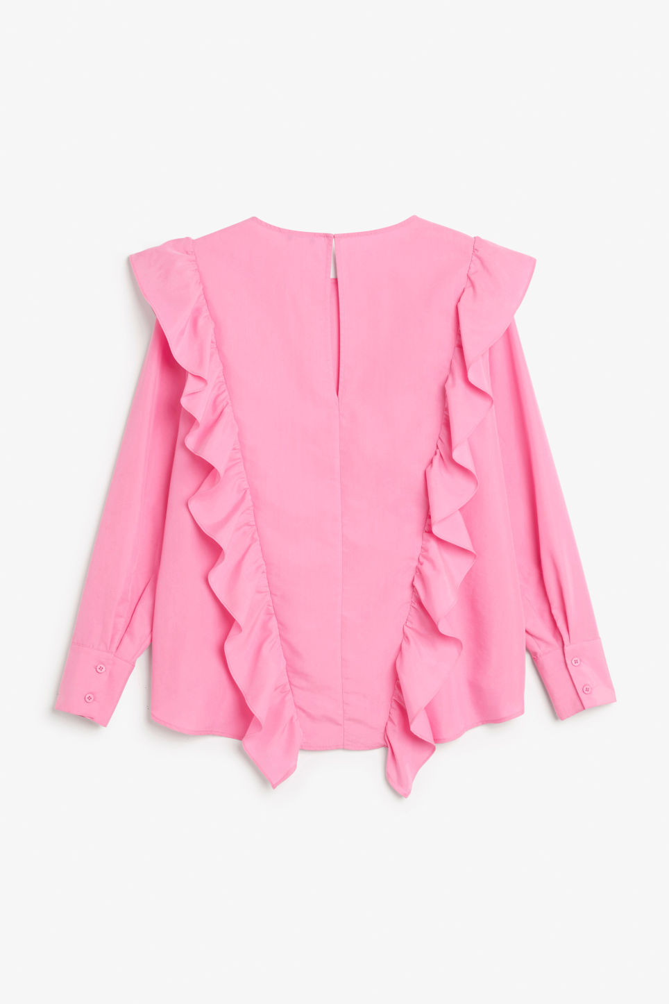 Back image of Monki ruffled mullet hem blouse in pink