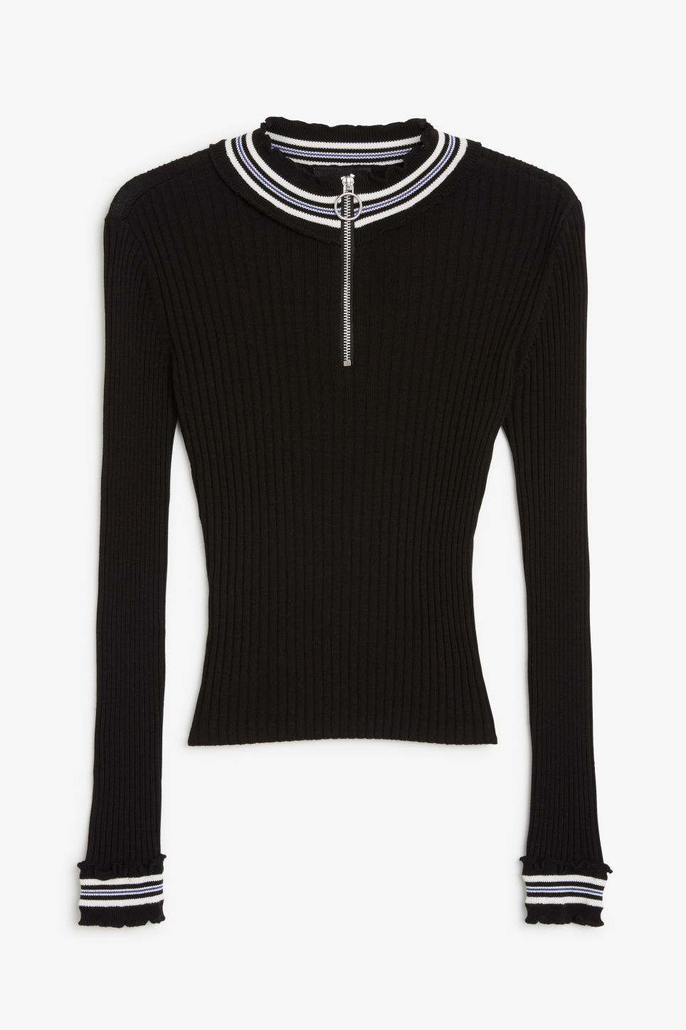 Front image of Monki ribbed zip neck sweater in black