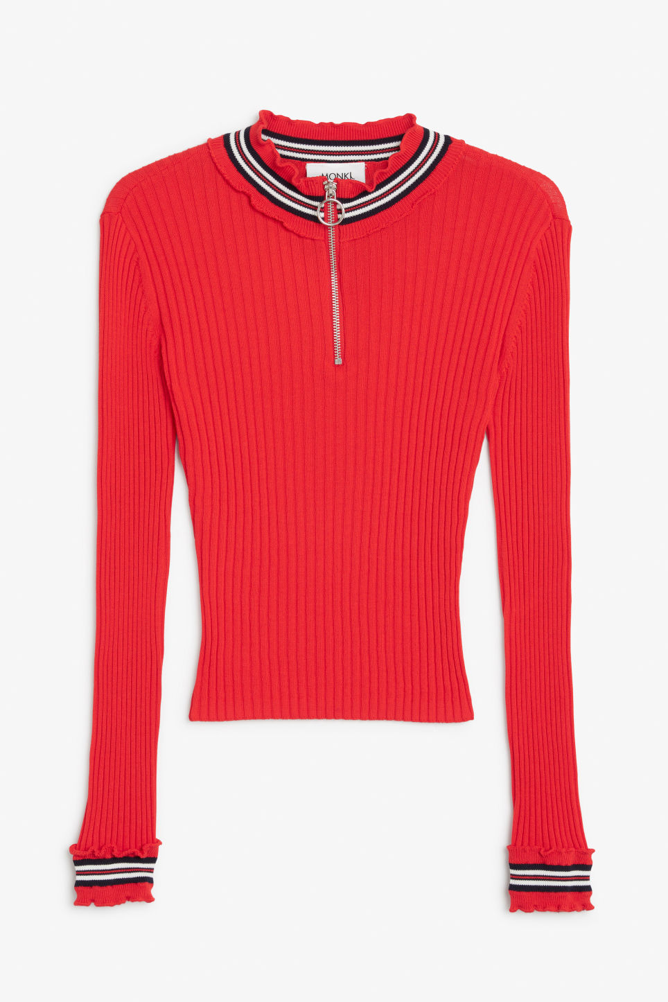 Front image of Monki ribbed zip neck sweater in red