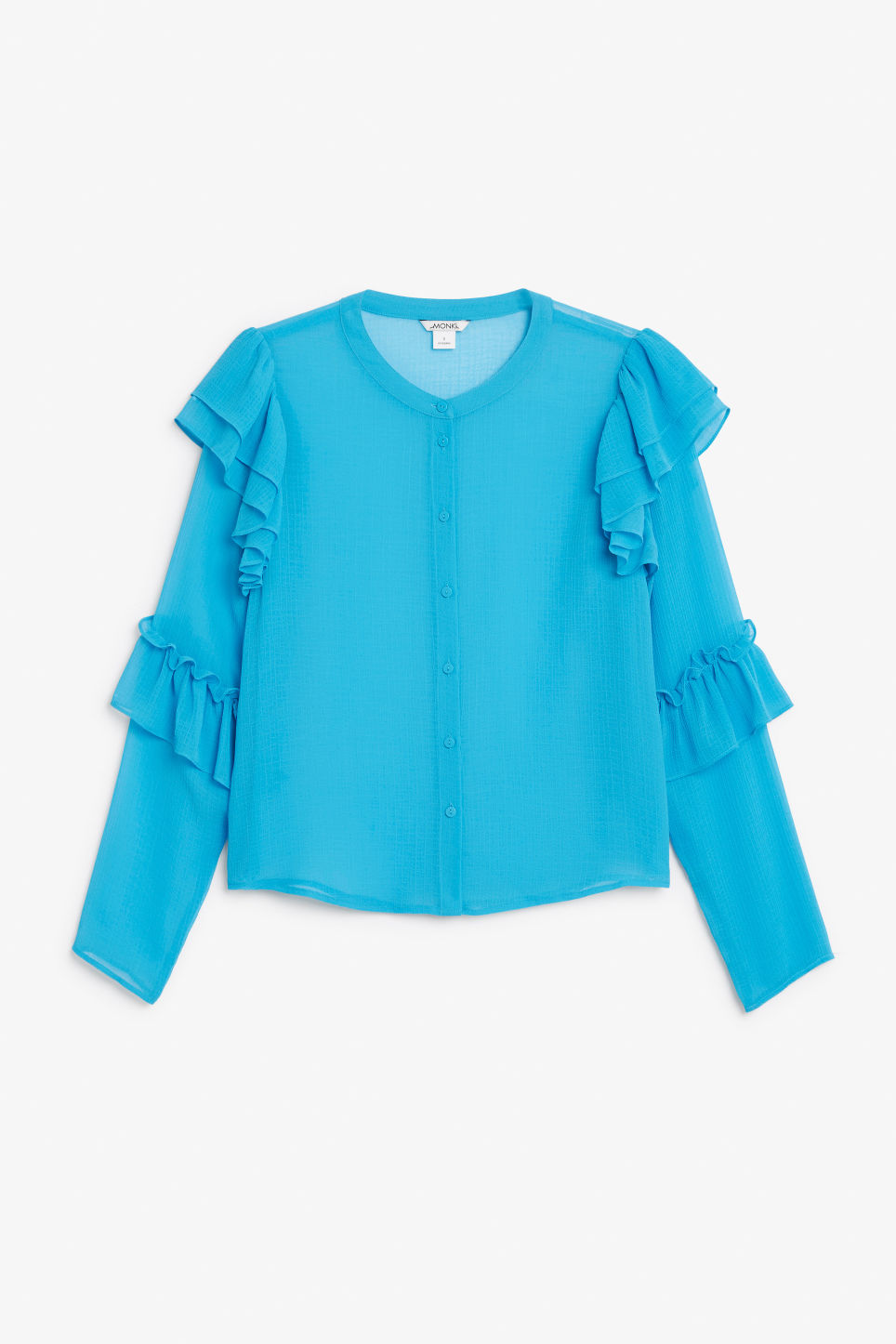 Front image of Monki triple ruffled sleeve blouse in turquoise