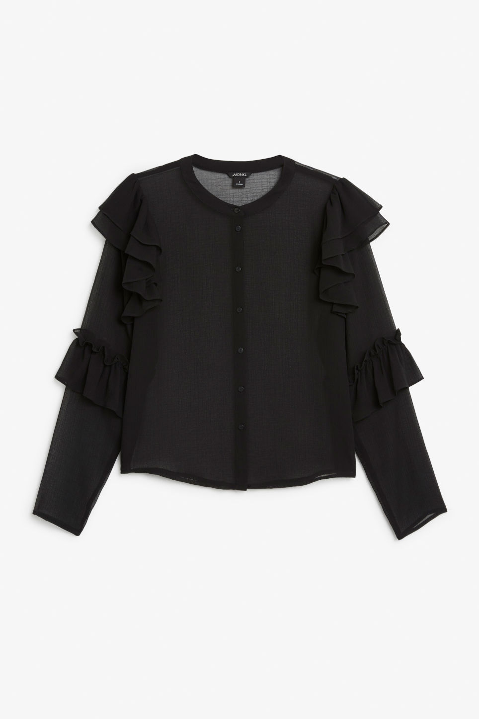 Front image of Monki triple ruffled sleeve blouse in black