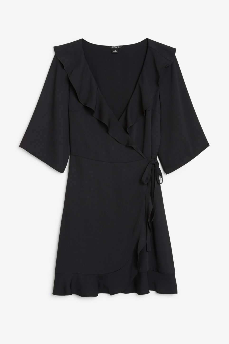 Front image of Monki ruffled wrap dress in black