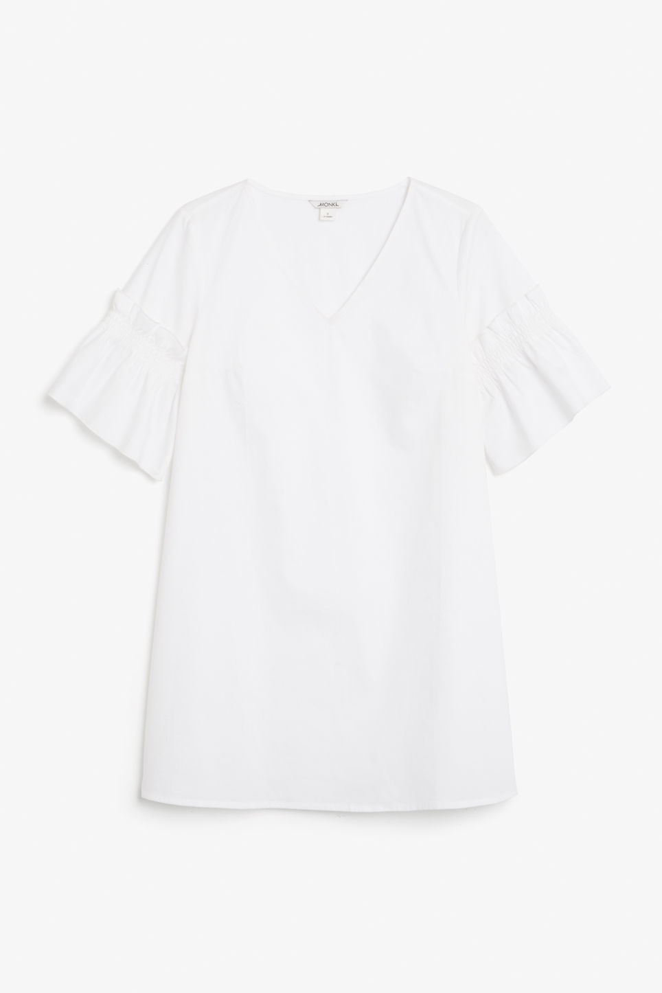 Front image of Monki ruffled sleeve dress in white