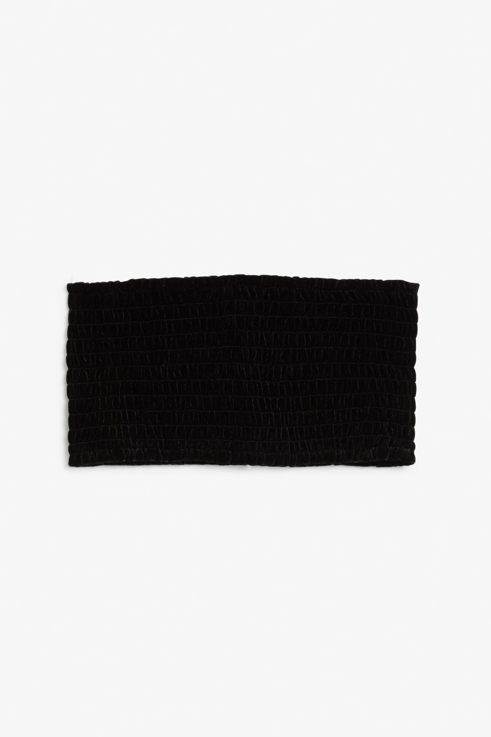 Front image of Monki shirred bandeau crop top in black