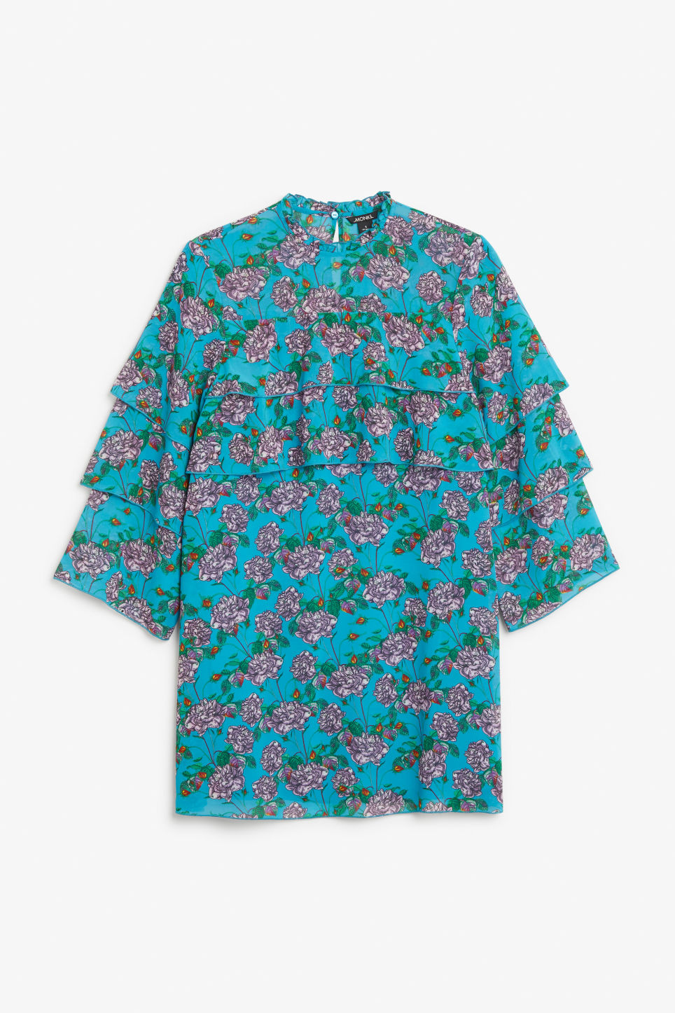 Front image of Monki ruffled trumpet sleeved dress in turquoise