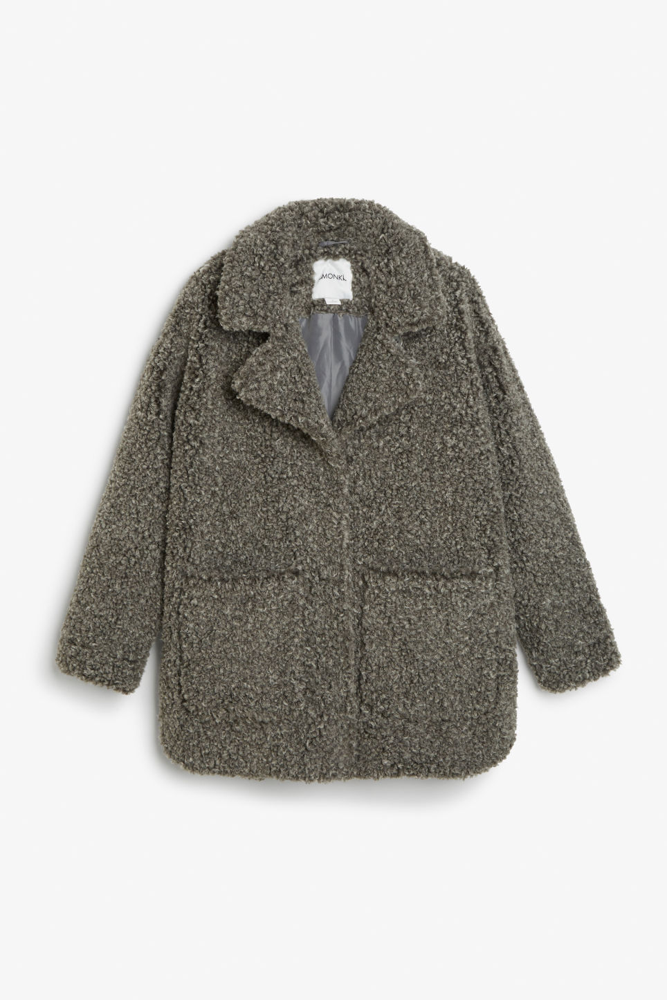 Front image of Monki faux shearling coat in grey