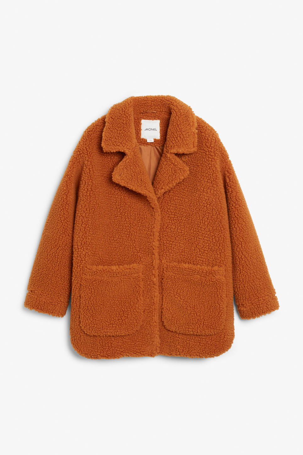 Front image of Monki faux shearling coat in orange