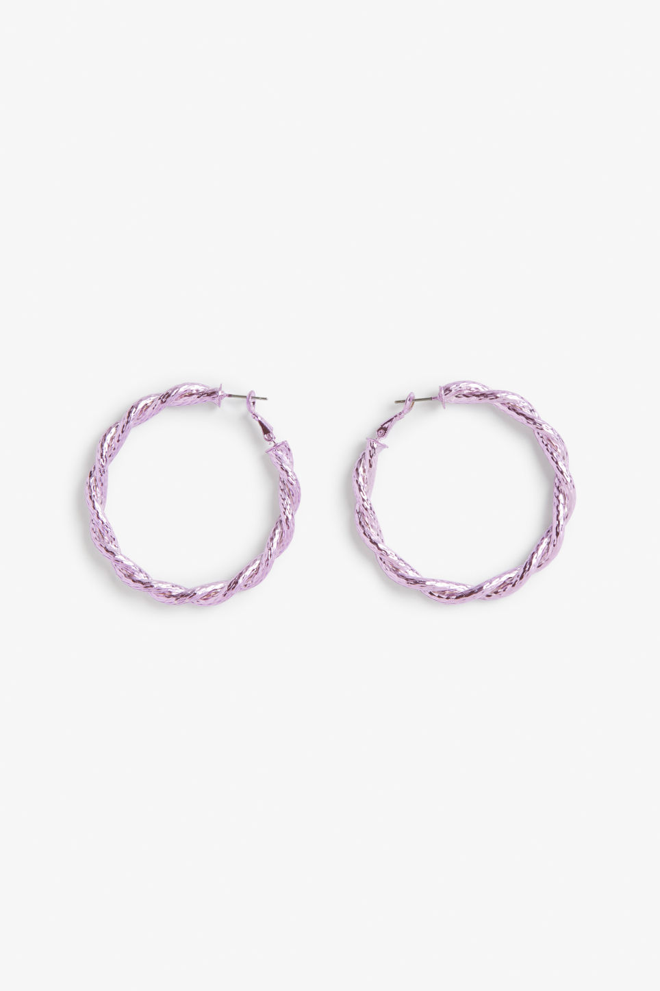 Front image of Monki twisted pink hoops in purple