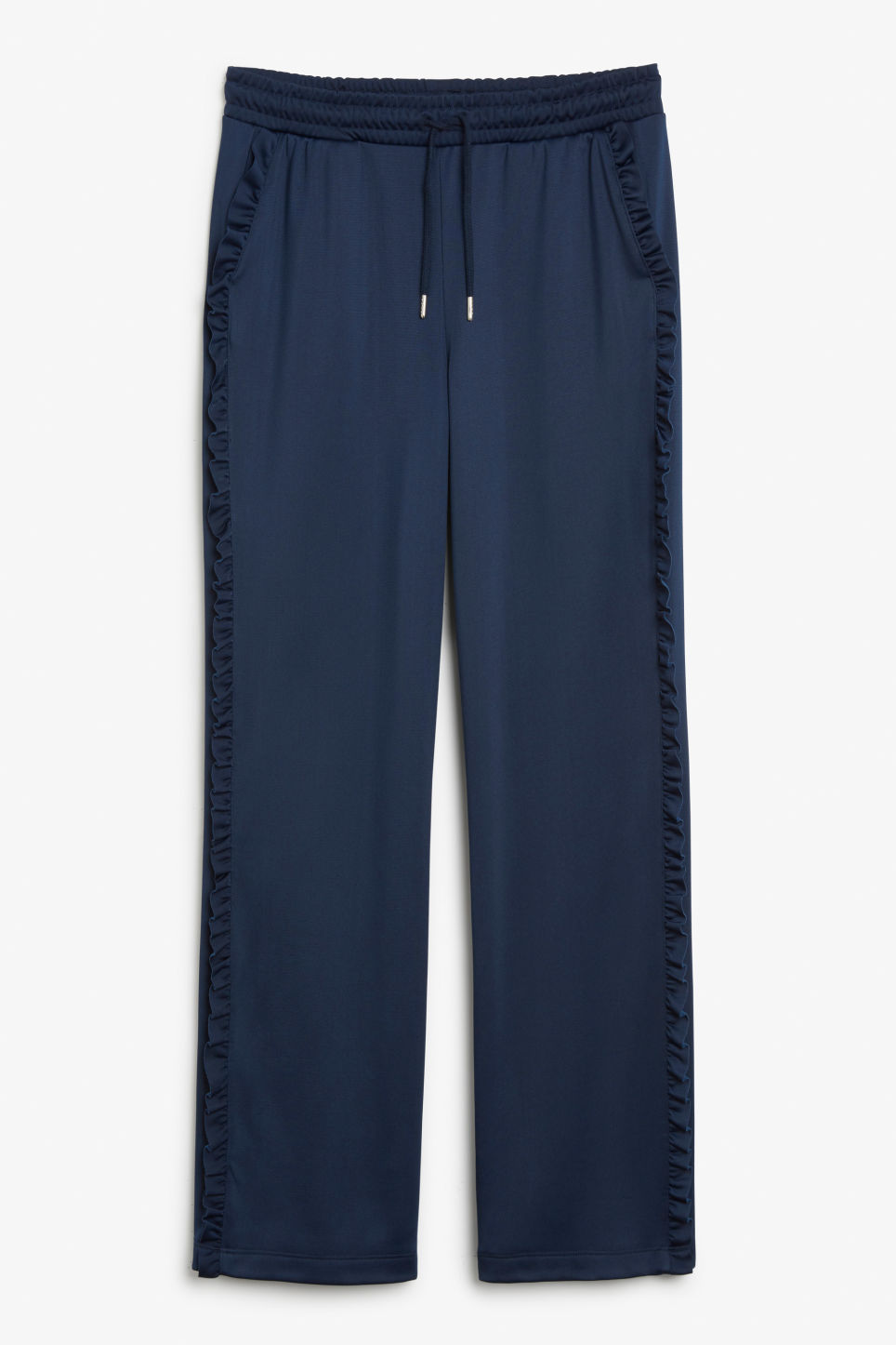 Front image of Monki frill track trousers in blue