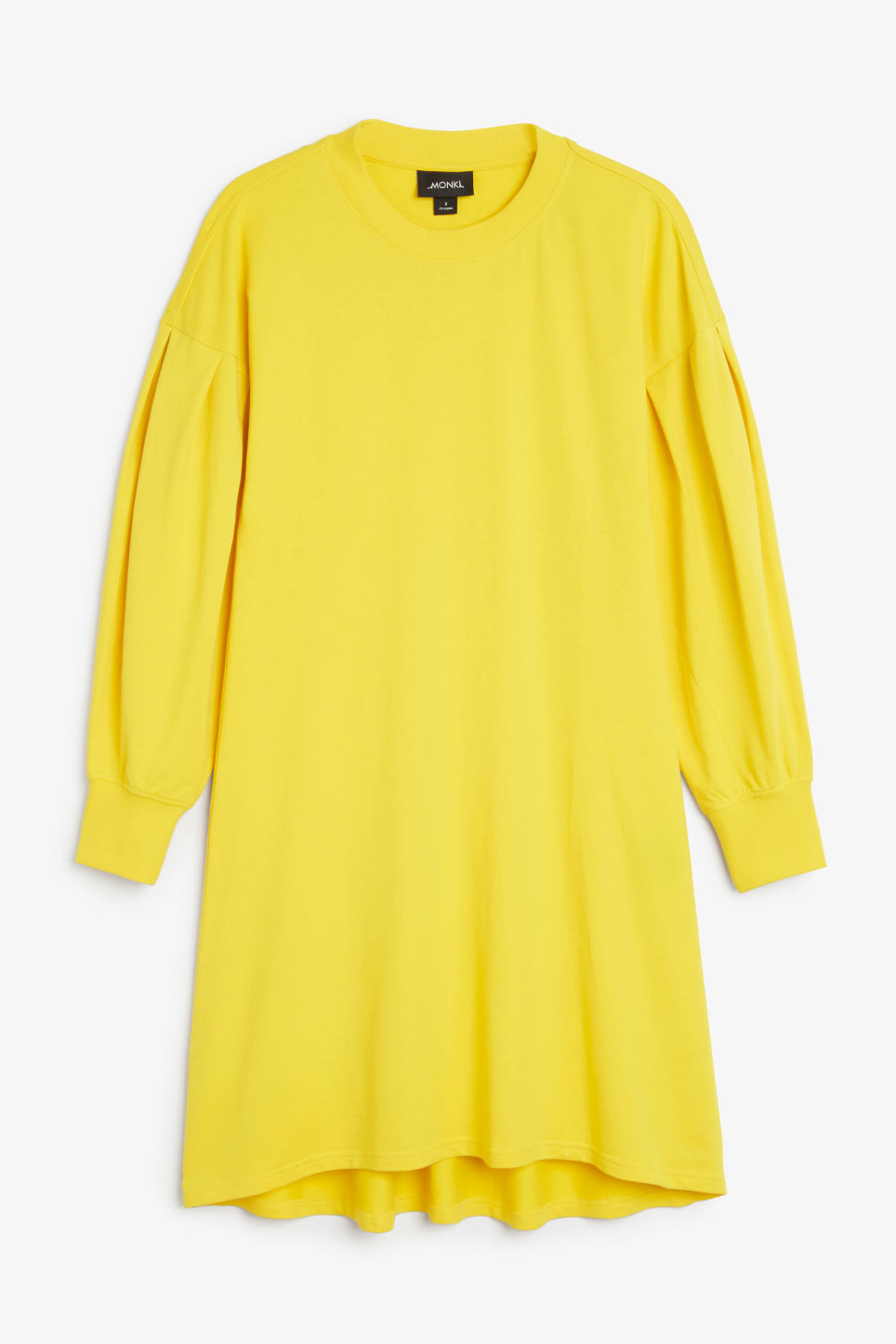 Front image of Monki puff-sleeved sweater dress in yellow