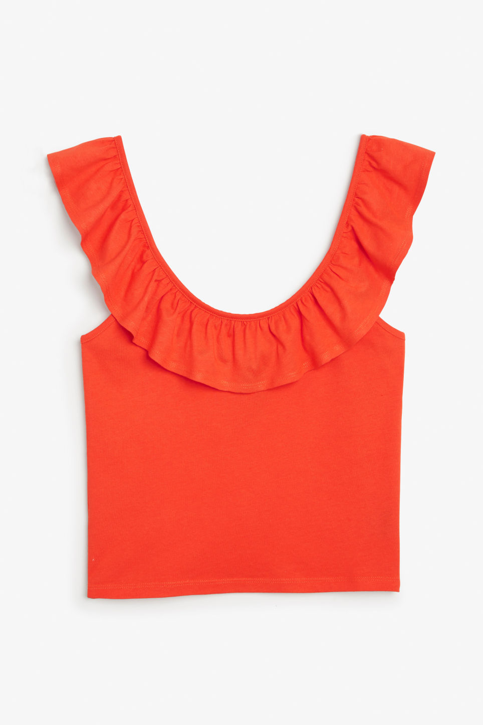 Front image of Monki ruffled singlet in orange