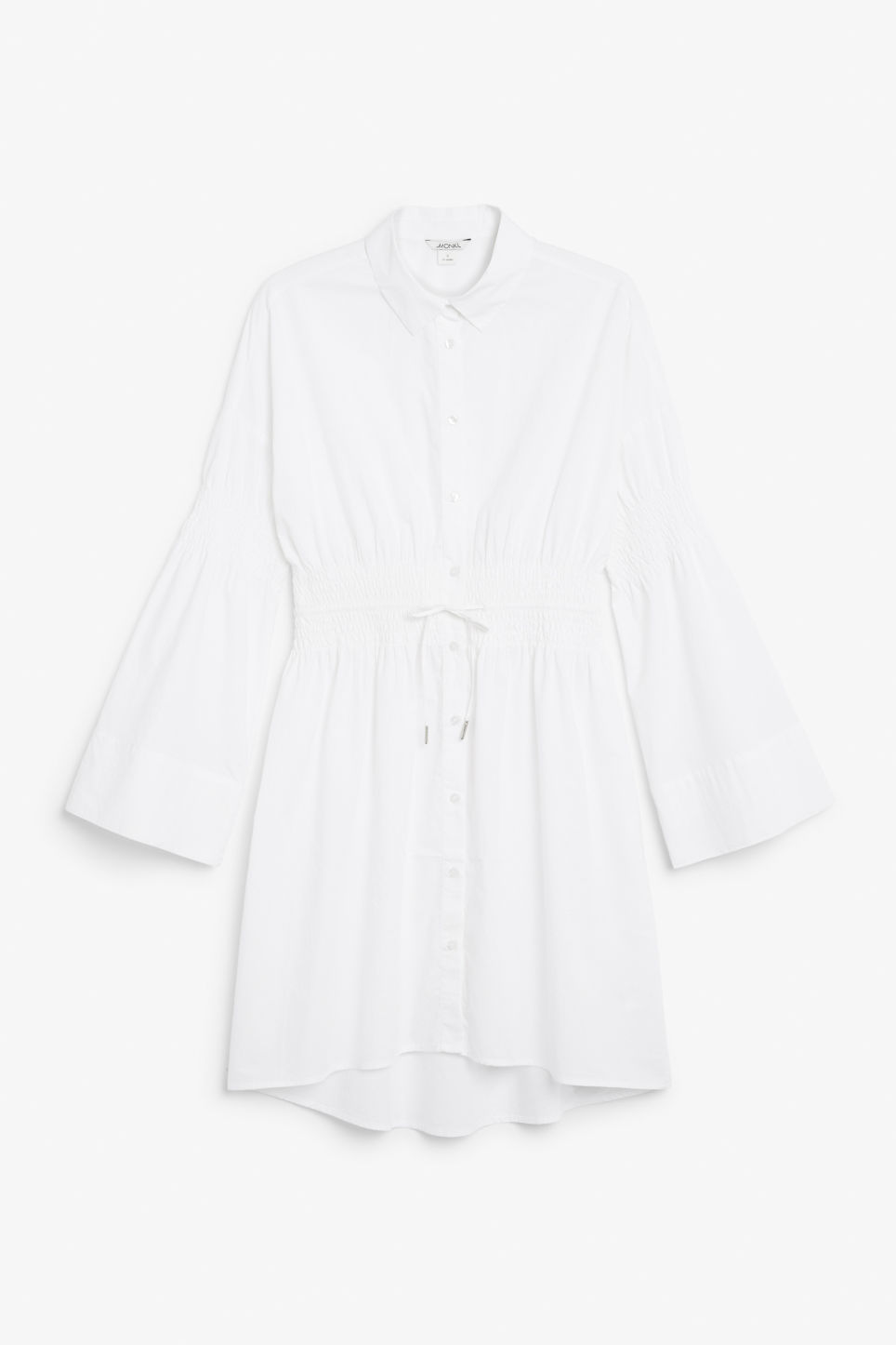 Front image of Monki smocked shirt dress in white