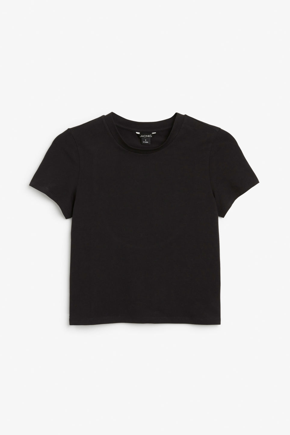 Front image of Monki cropped tee with back detail in black