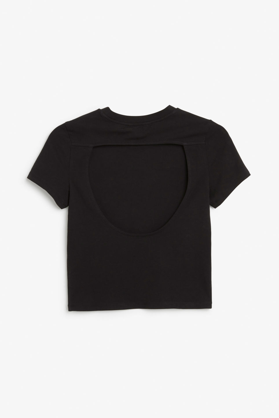 Back image of Monki cropped tee with back detail in black