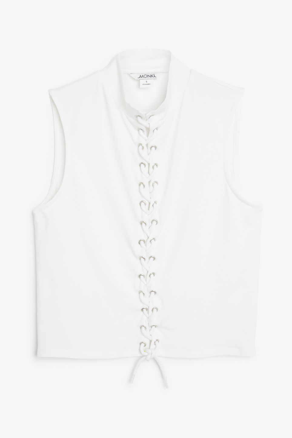 Front image of Monki lace up cropped top in white