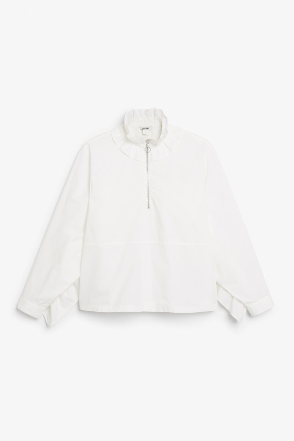 Front image of Monki ruffled zip neck blouse in white