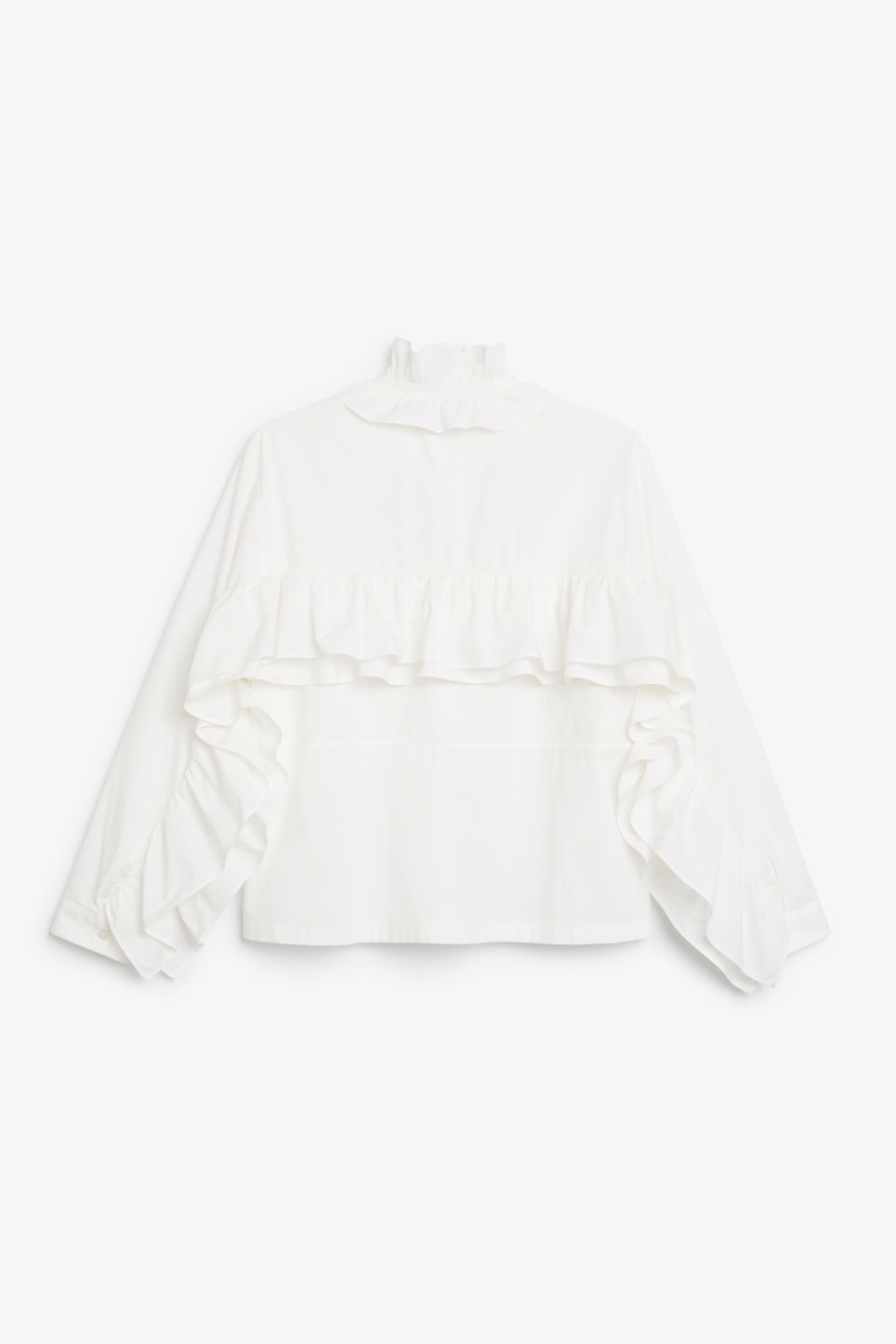 Back image of Monki ruffled zip neck blouse in white