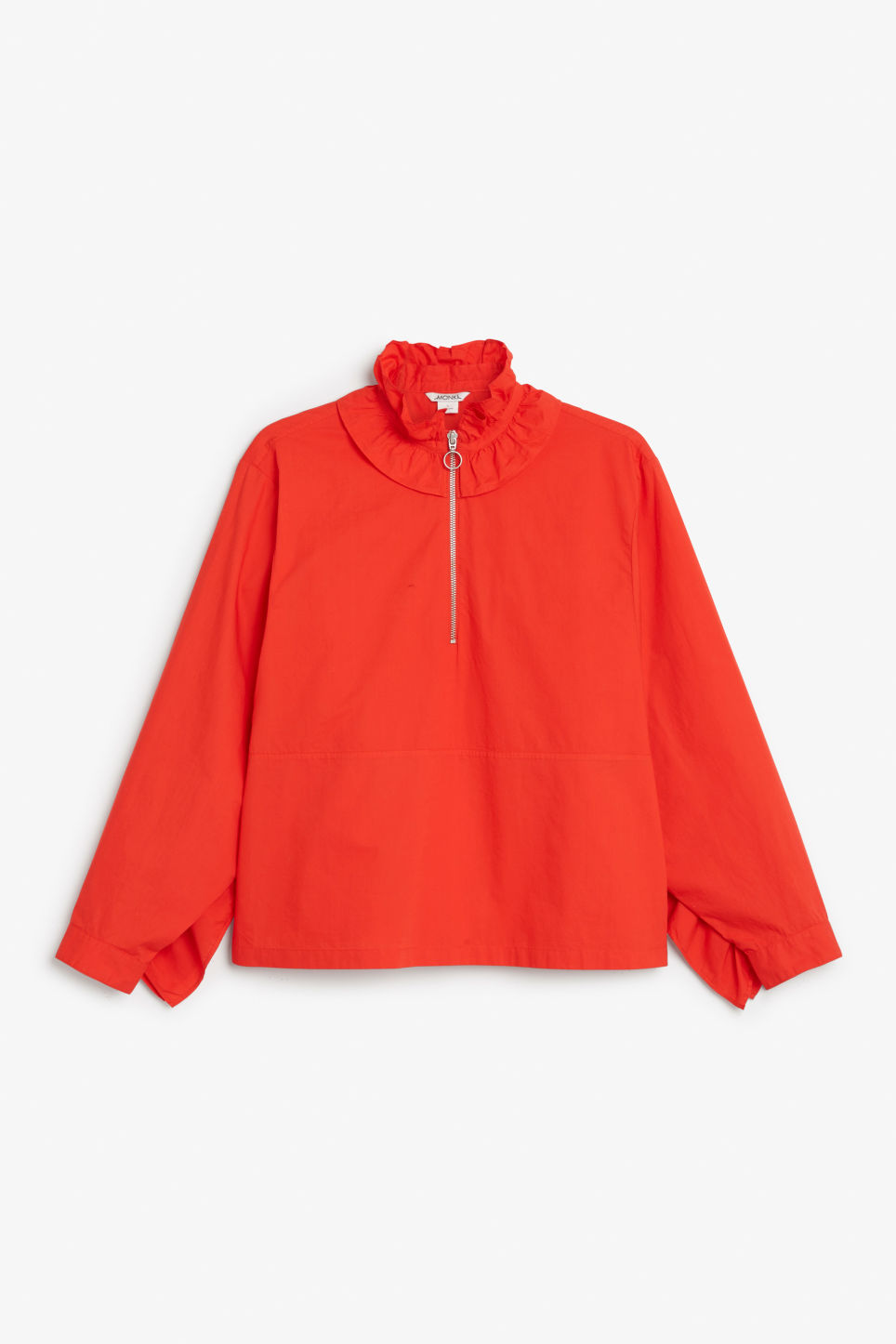 Front image of Monki ruffled zip neck blouse in red