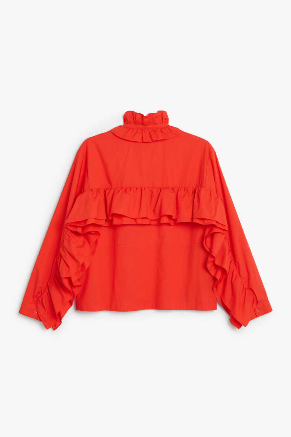 Back image of Monki ruffled zip neck blouse in red
