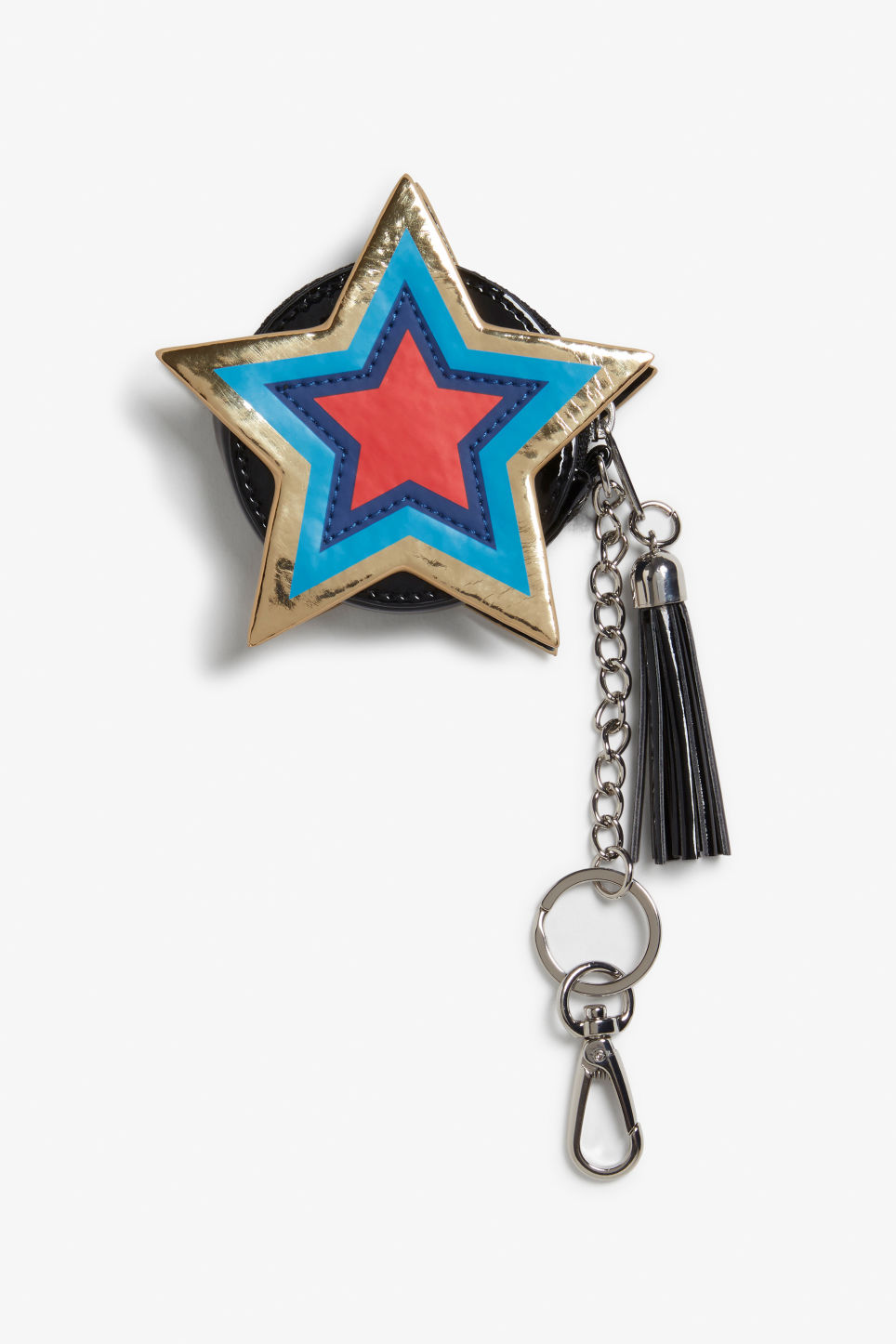 Front image of Monki star purse keychain in turquoise