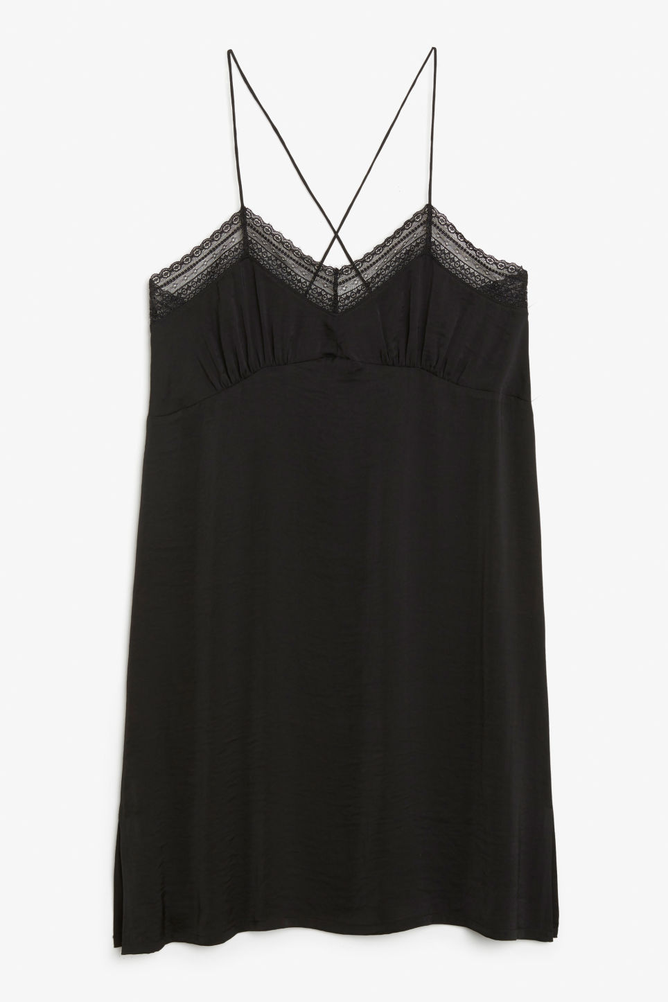 Front image of Monki nighty slip in black